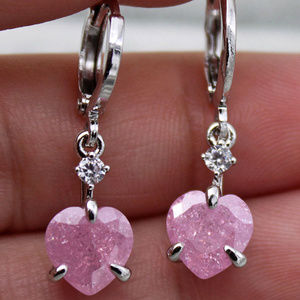 18K Gold Filled Pink Cherry Heart Stone Earrings